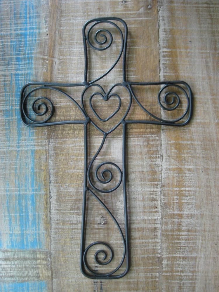 Metal Cross Wall Decor rustic metal cross with a heart and swirl, wire wall decor | wall