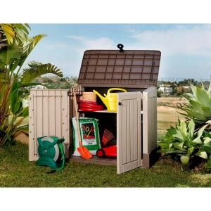 Keter Woodland 30 With Pistons 211166 At The Home Depot Plastic Storage Sheds Plastic Garden Storage Box Garden Storage