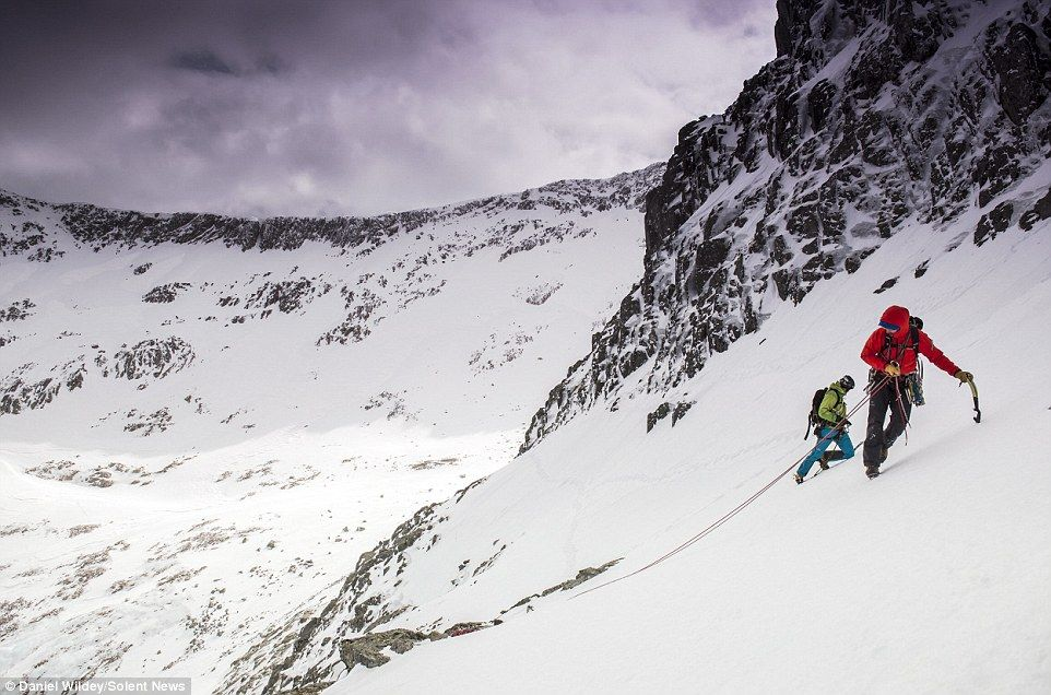 Two climbers took to Britain's highest peak, Ben Nevis in the Grampian mountains today, wh...