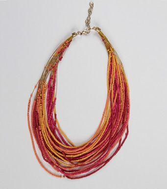 6f1b3cfa8e64 Collar largo abalorios naranja Moda Mujer Z7 Venca