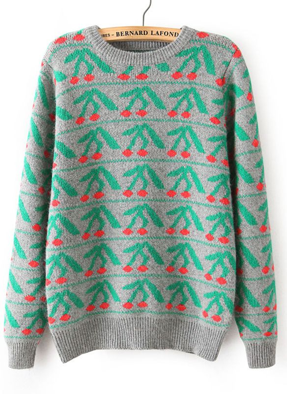 Grey Long Sleeve Cherry Pattern Knit Sweater | Looks