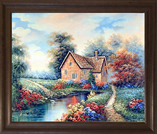 Feel The Beauty Of Nature And The Charm Of Countryside With This Beautiful Country Cottage Charming Rustic Landscape Wall Decor Landscape Scenery Landscape Art