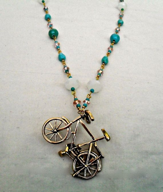 Pink and Turquoise Bicycle Necklace