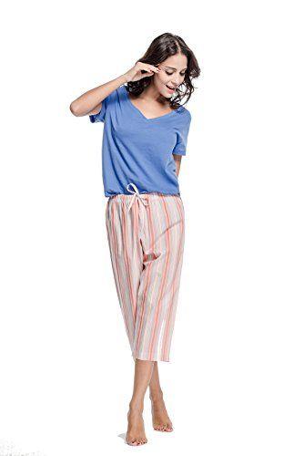 4e2b82a42c1 CYZ Women s 100% Cotton Woven Pajama Capri-BlueStripe-XL ... https