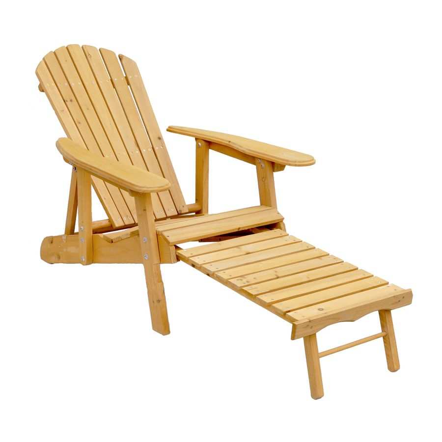 Shop Leisure Season Brown Wood Adirondack Chair With Ottoman At