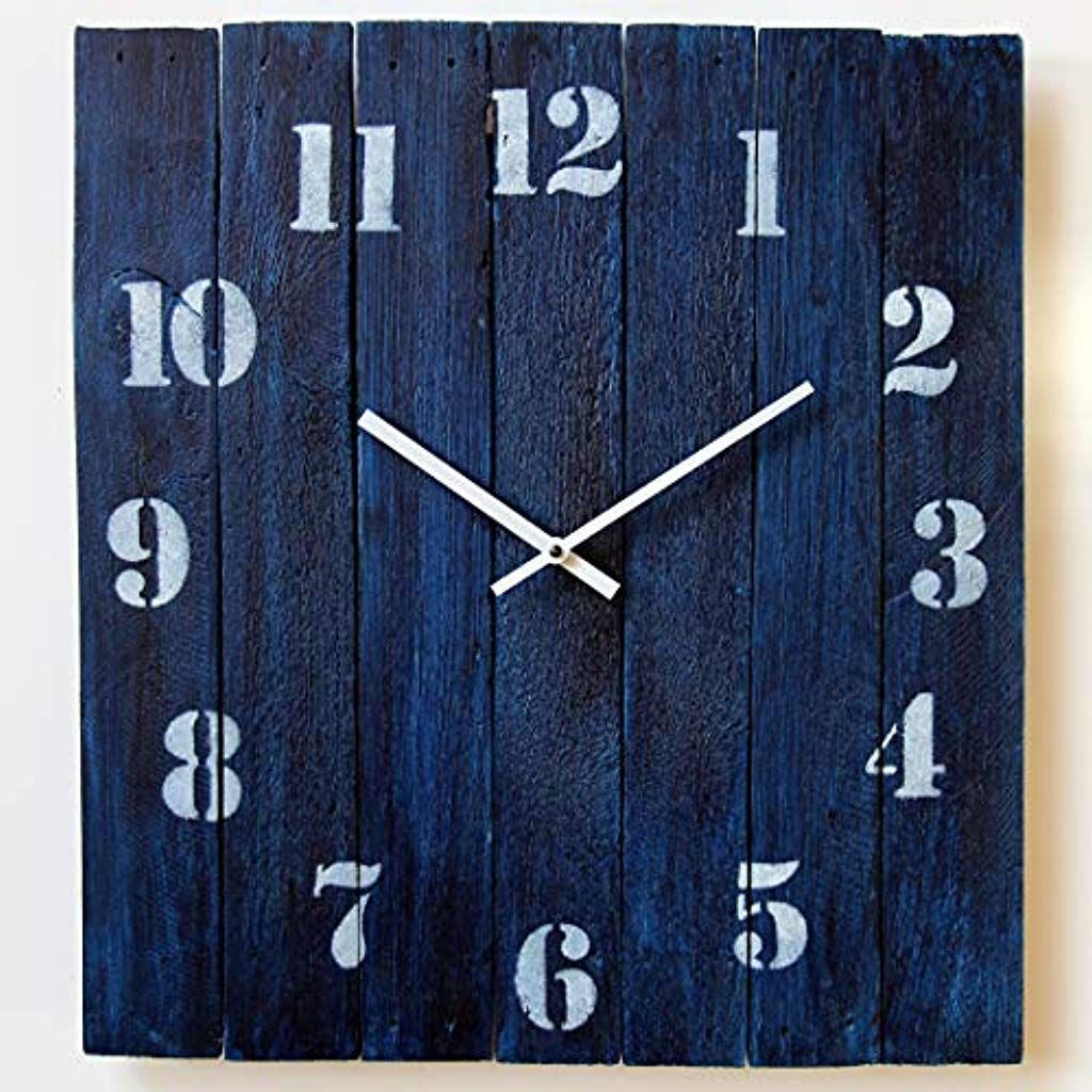 Large Square Wood Rustic Wall Clock 20 Inch Silent Non Ticking Gift For Home Office Kitchen Bedroom Living Room H Rustic Wall Clocks Rustic Walls Wall Clock