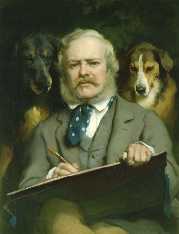 Sir Edwin Landseer (1803-73) - The Connoisseurs: Portrait of the Artist with two Dogs