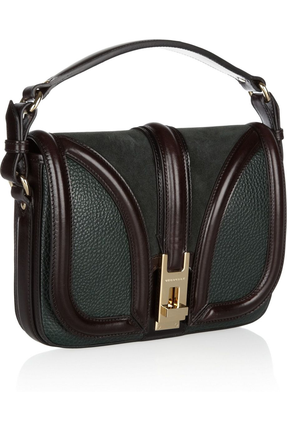 e9ca66ce4d60 Burberry Textured-leather and suede shoulder bag