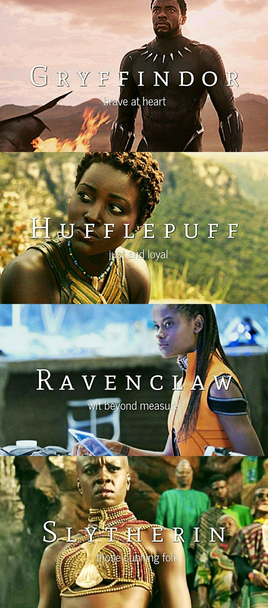 Black Panther Characters + Hogwarts Houses (Yes I agree that Nakia and Okoye could easily be switched. However, Hufflepuff is more than just loyalty and I stand by the fact that Nakia would be a just ruler who wants what is best for all her people even those outside of Wakanda.)