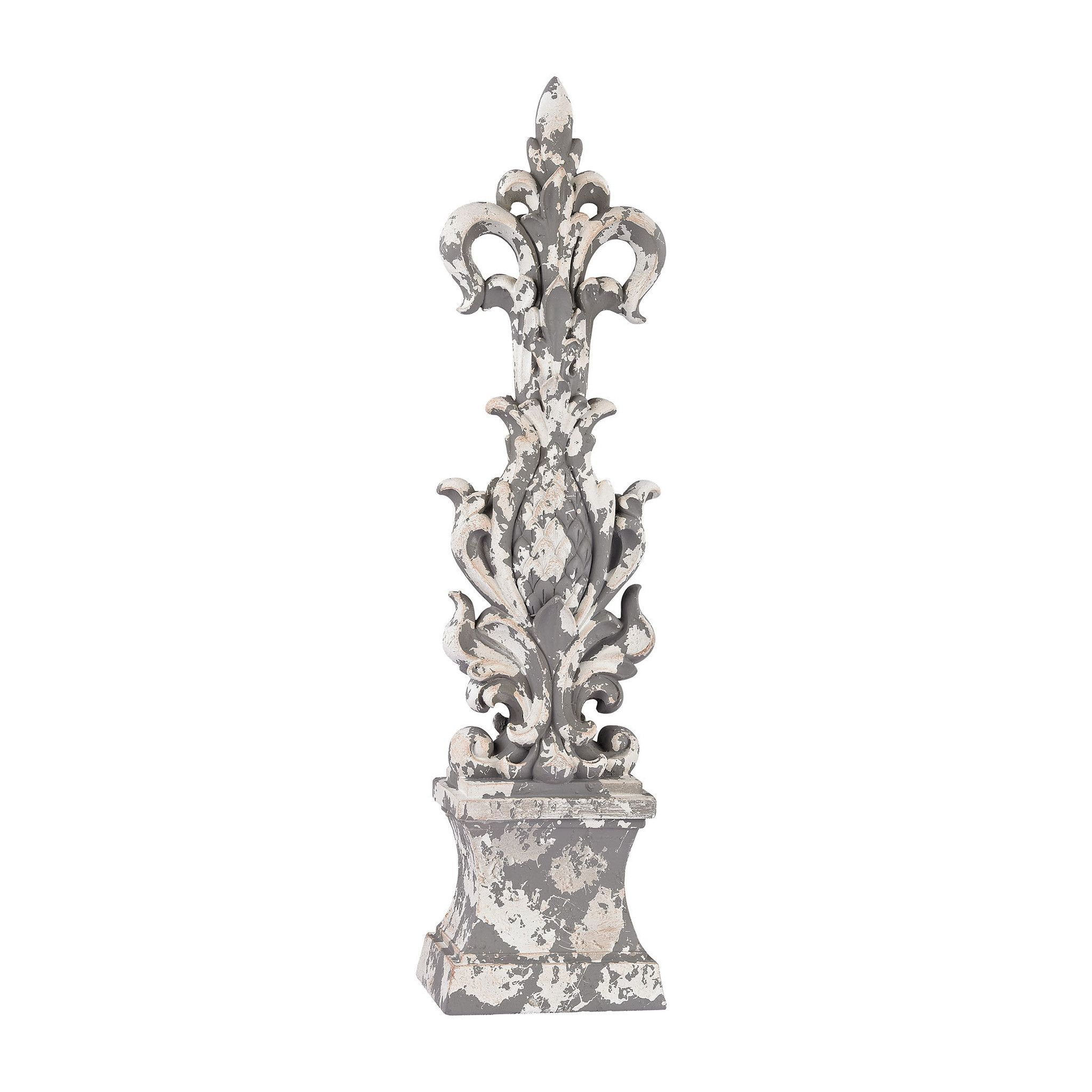 Aged Plaster Scroll Finial 387-010