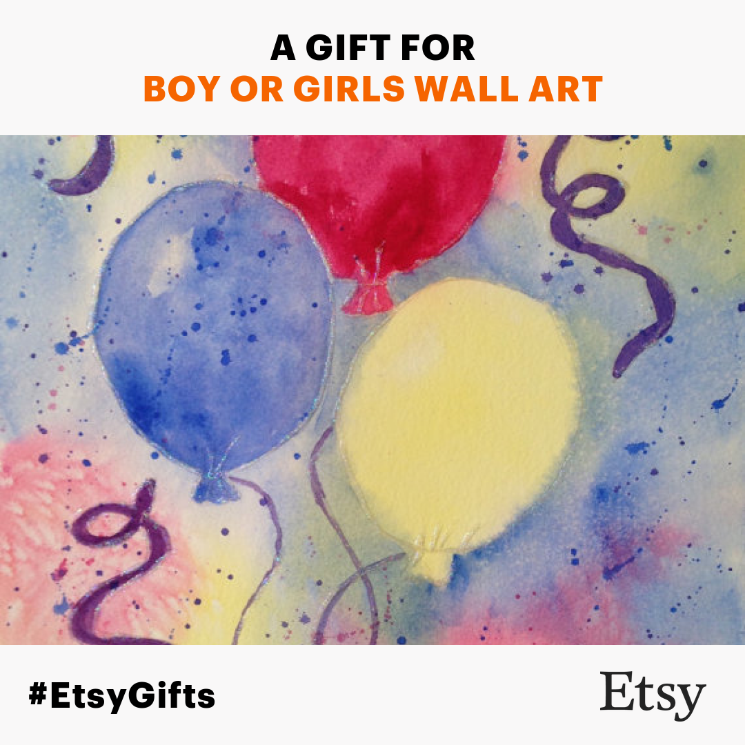 Celebrate with balloons! Watercolor painting suitable for boys or ...