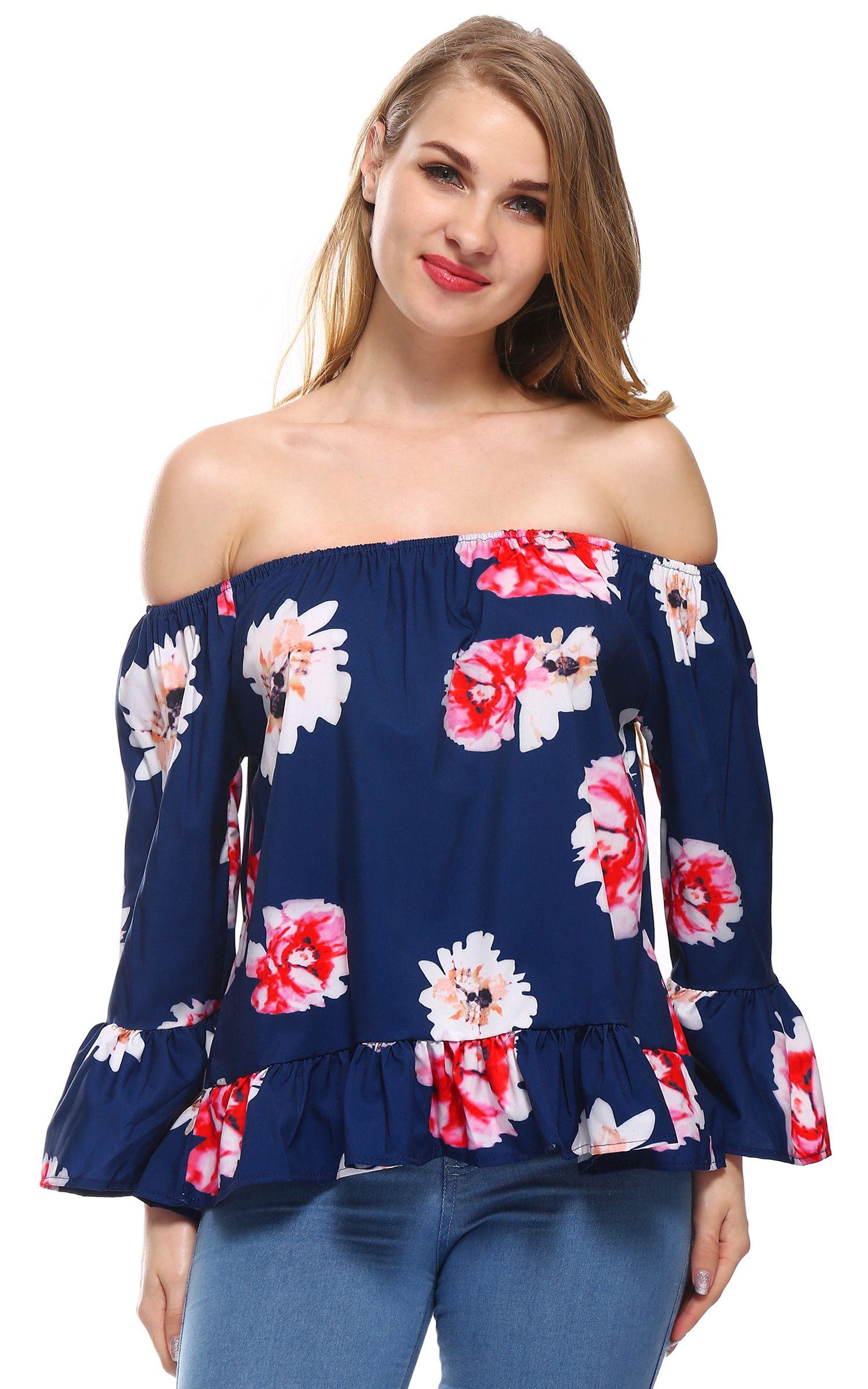 c9f78030b75f1 Sexy Women Chiffon Floral Print T Shirt Tops Slash Neck Off The Shoulder  Casual Beach Blusas Plus Size Women Clothes L3  Affiliate