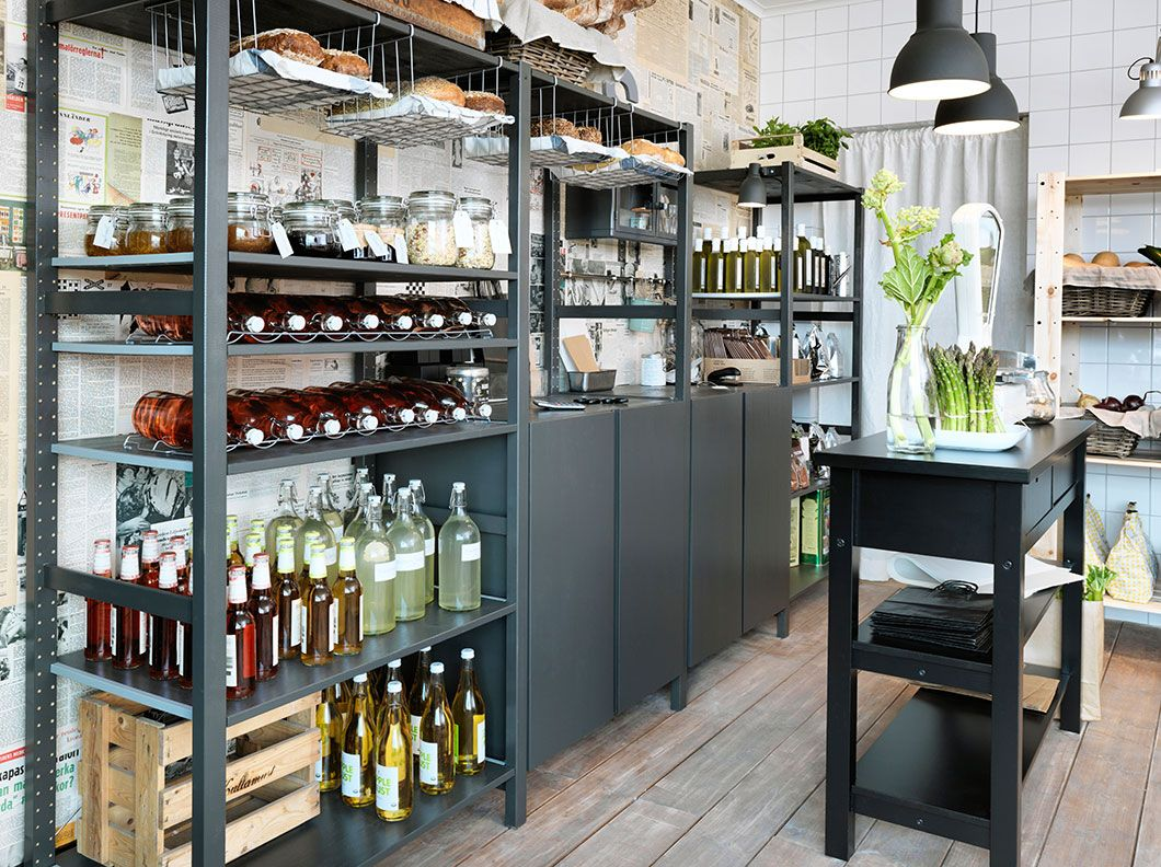 Ikea ivar in black a small grocery store with shelving for Ikea wood shelving units