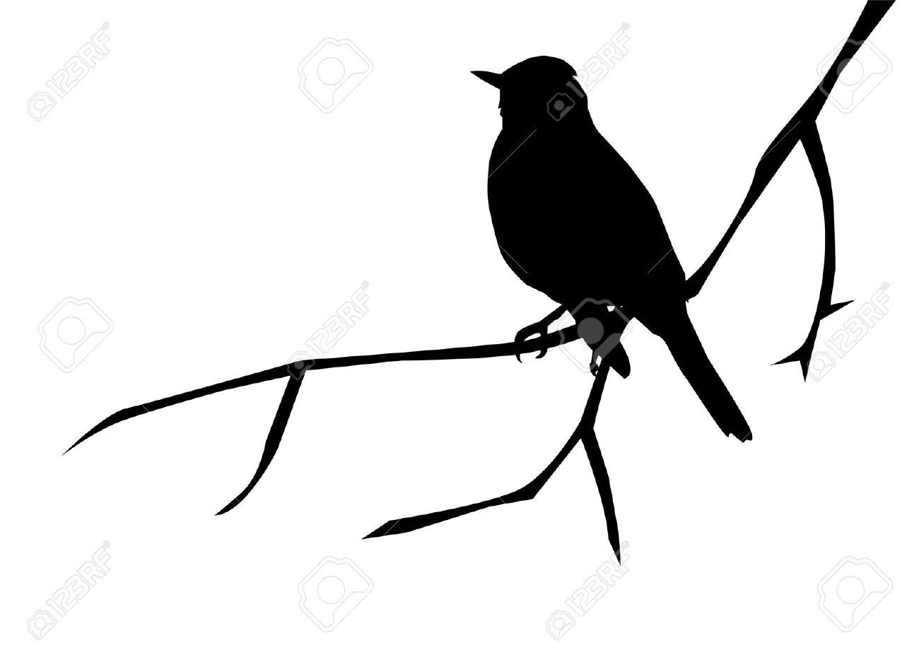 Silhouette Of A Bird On The Branch Royalty Free Cliparts ...