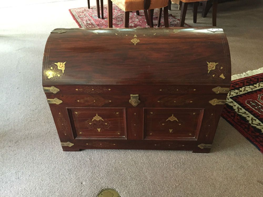 Details about Gorgeous Vintage Domed Brass Inlaid Rosewood ...