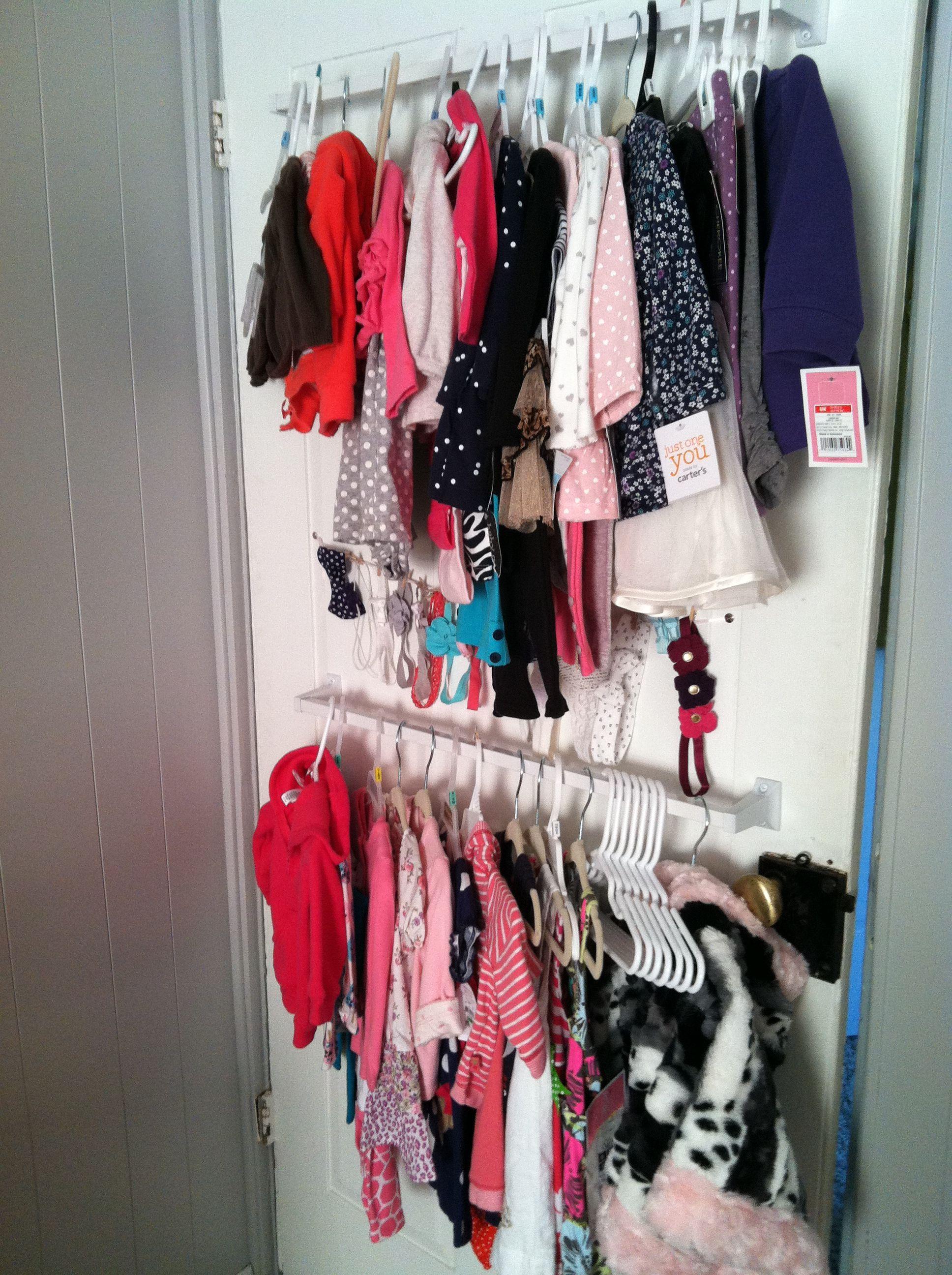 . Nursery with no closet       Hang towel rods on back of door   Ice