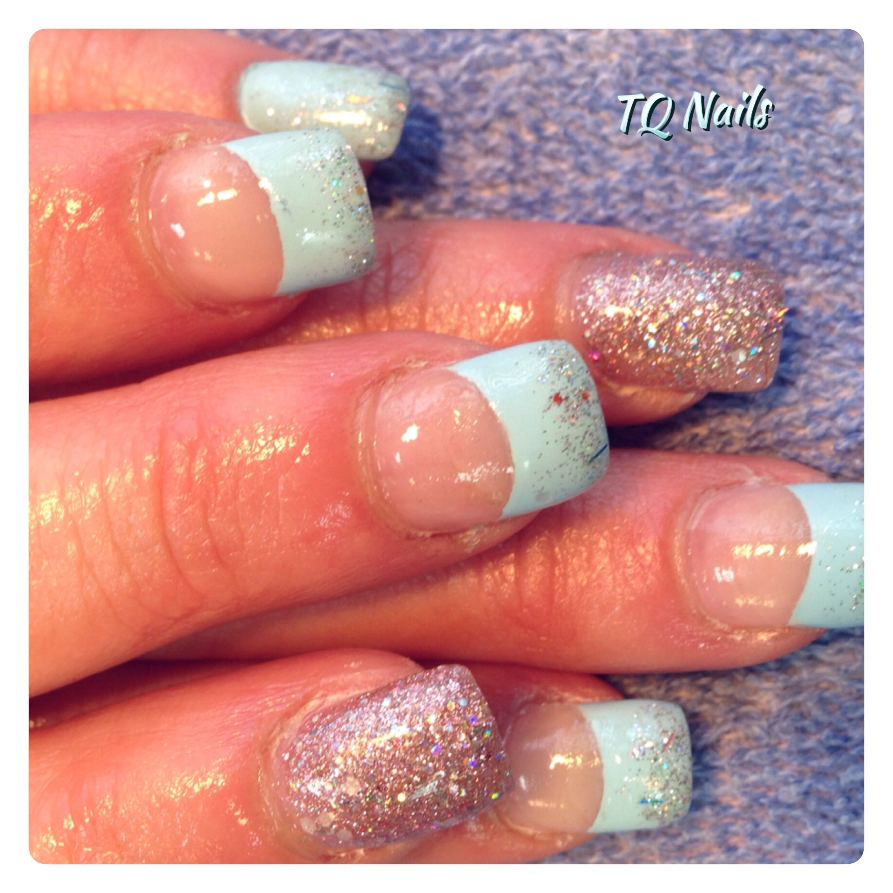 Glitter fading on french#nails