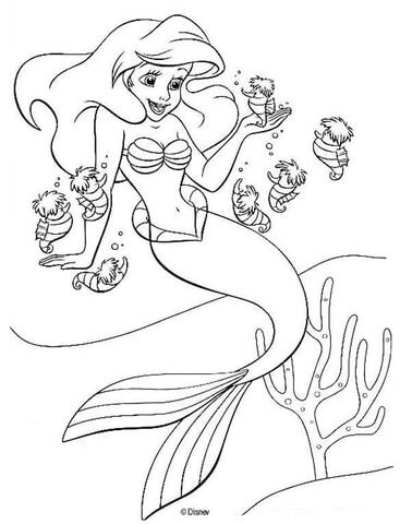 Ariel And Seahorses Coloring Page From The Little Mermaid Category Select From 25680 Printable Cr Ariel Coloring Pages Mermaid Coloring Pages Mermaid Coloring
