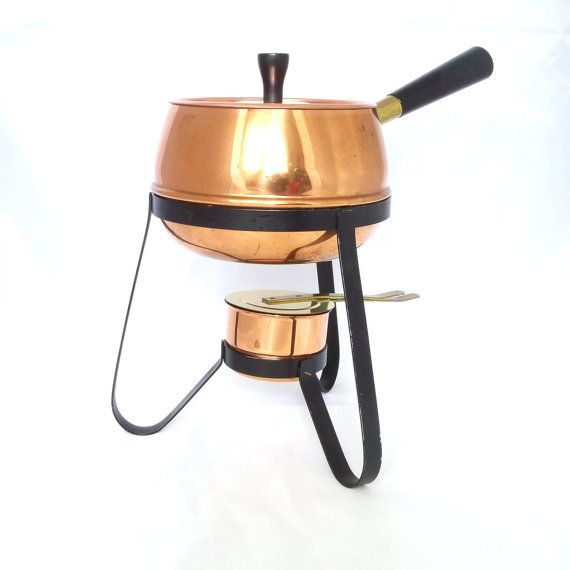 Vintage Mid Century Modern Fondue Set  Chafing Copper by Revvie1, $19.00