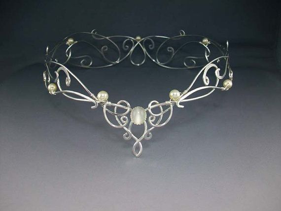 Shannon Bridal Crown, Silver Wedding Crown, Celtic Crown, Reign Medieval Renaissance, Crystal Veil Headdress