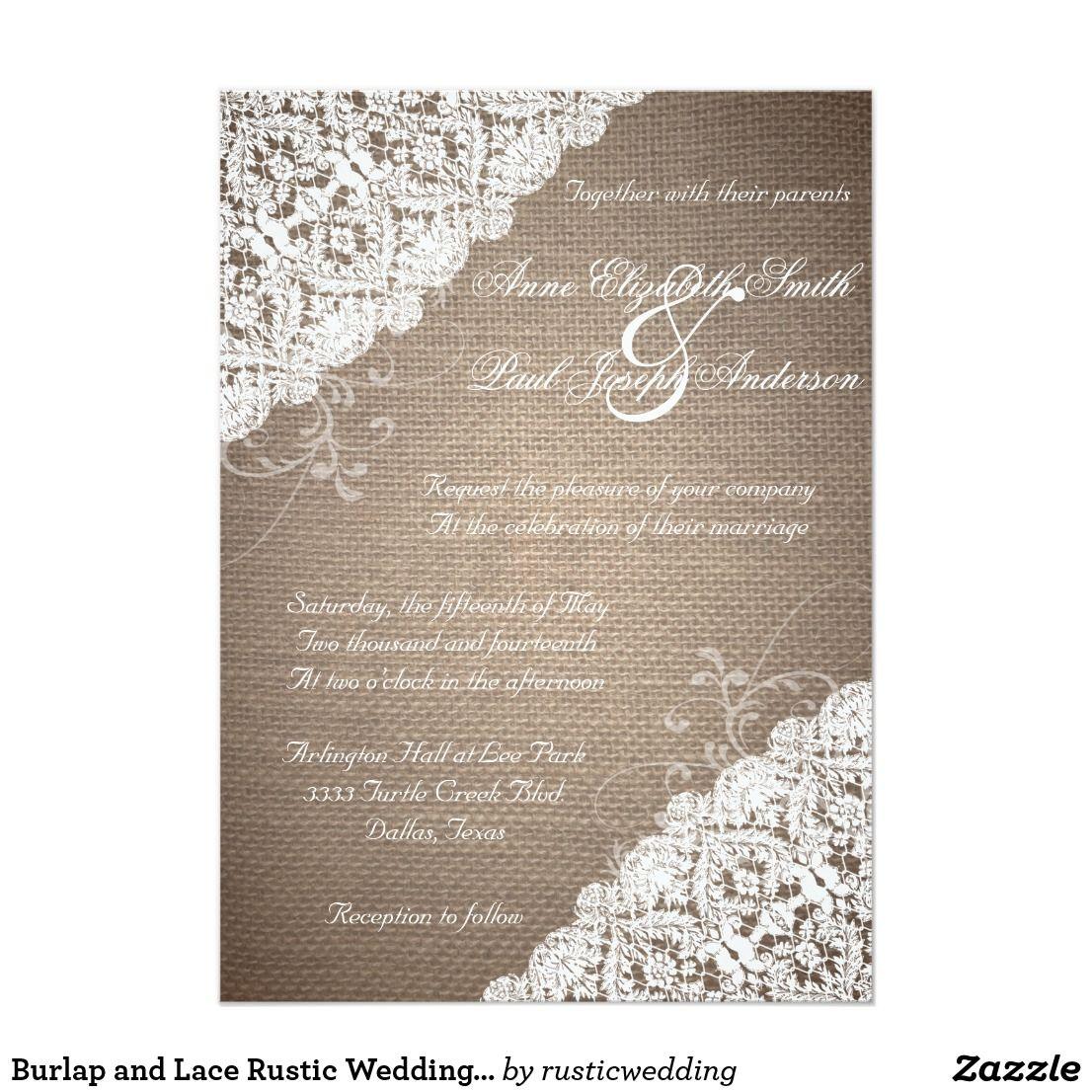 Creative clock background  Burlap and Lace Rustic Wedding InvitationThese beautiful rustic