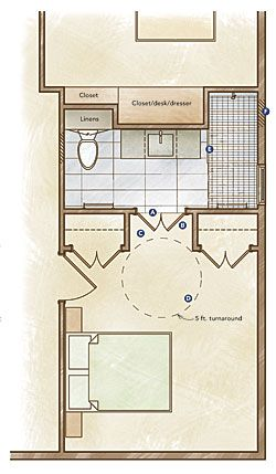 Doesn 39 t look like much transfer room but how to - Universal design bathroom floor plans ...