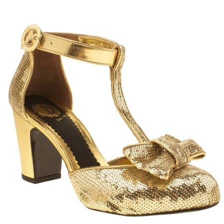 Womens Red Or Dead Gold Tara Tango Low Heels