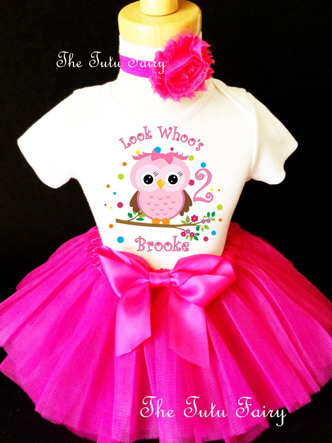 fb1a5c6d5 Owl Look WhOO's Whos Who's Hot Pink Rainbow Polka Dots 2nd Second Girl  Birthday Tutu Outfit
