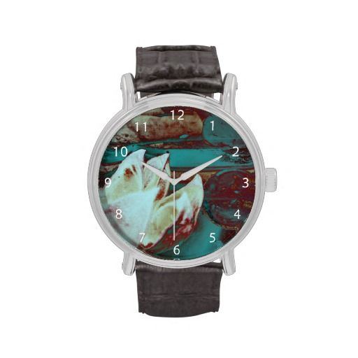 Artistic Water Lilly in Red and Blue / Vintage Leather Strap Wrist Watch #fomadesign