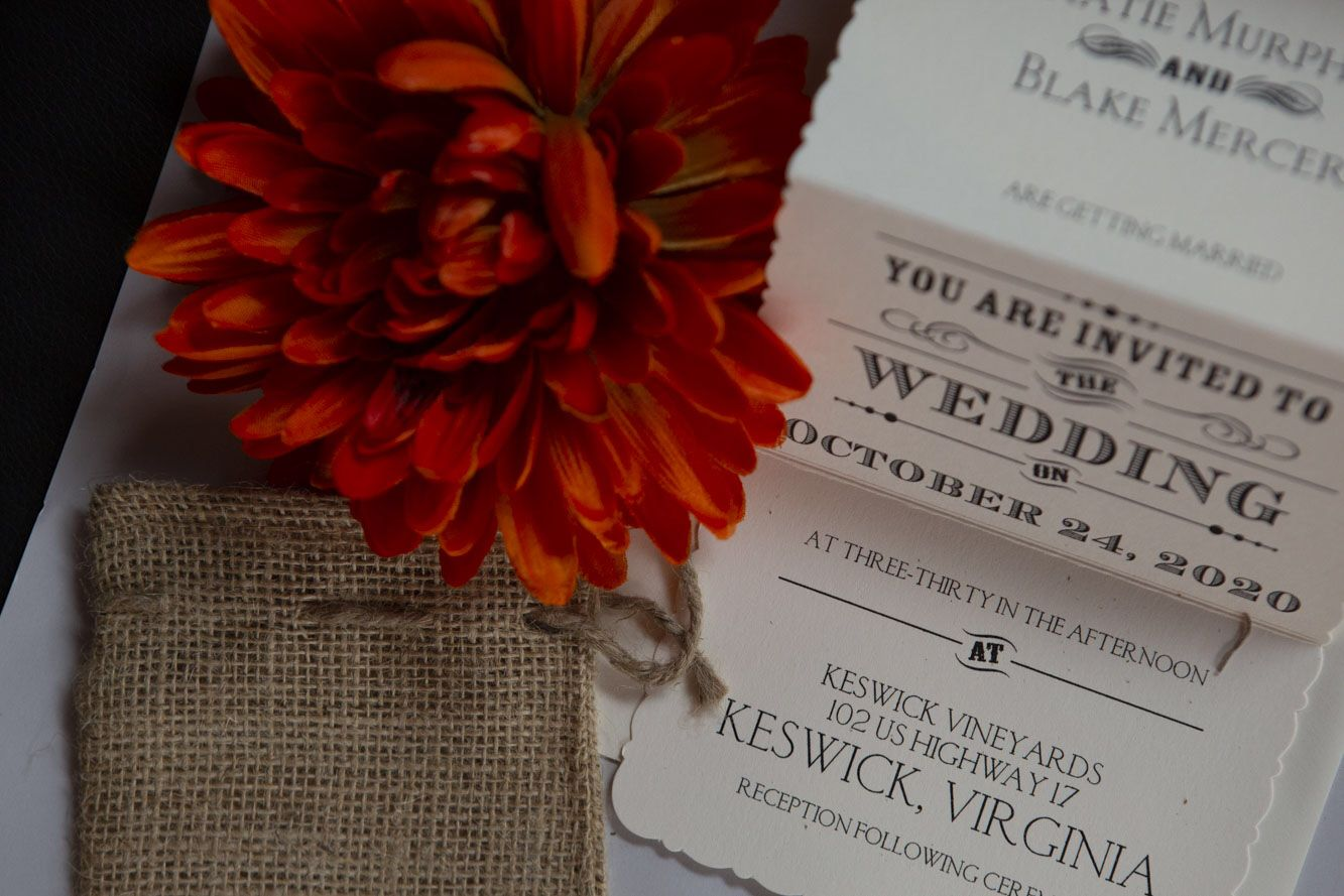 A trifold Wedding invitation with an added rustic touch and ...