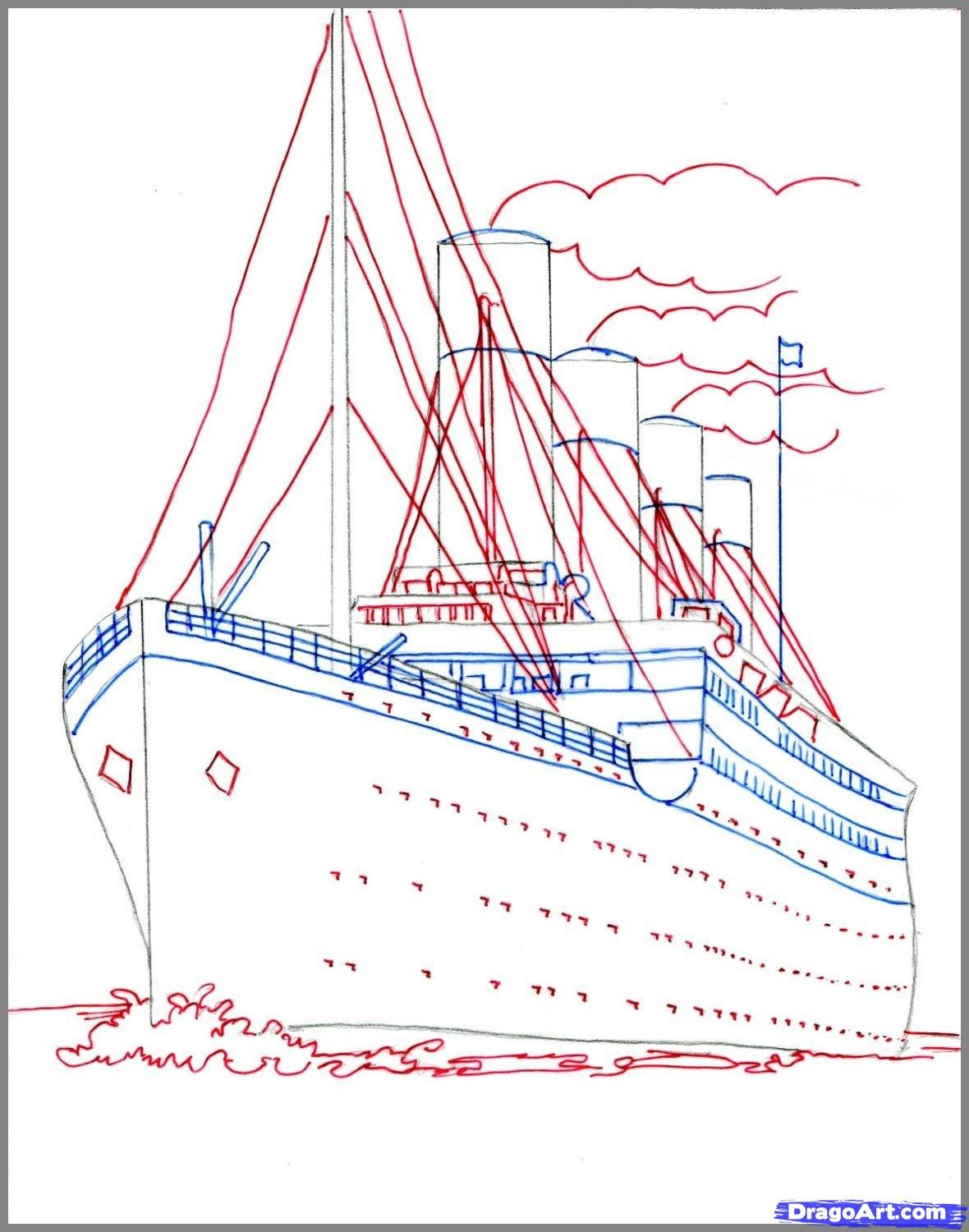 How To Draw The Titanic Titanic Step 3