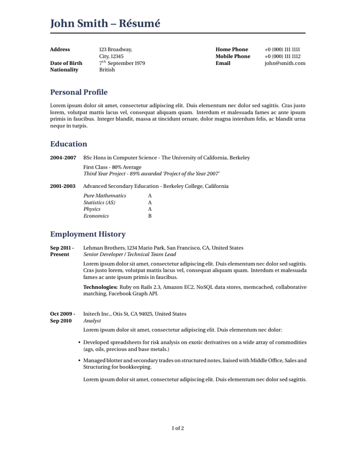wilson resumecv latex template - Latex Cv Template