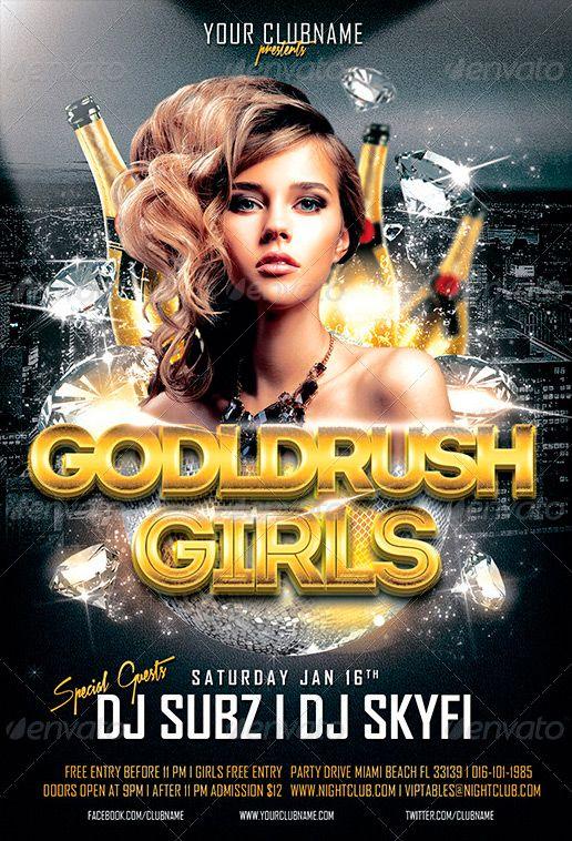 Goldrush Girls Club Party Flyer Template ffflyer – Harmony Flyer Template