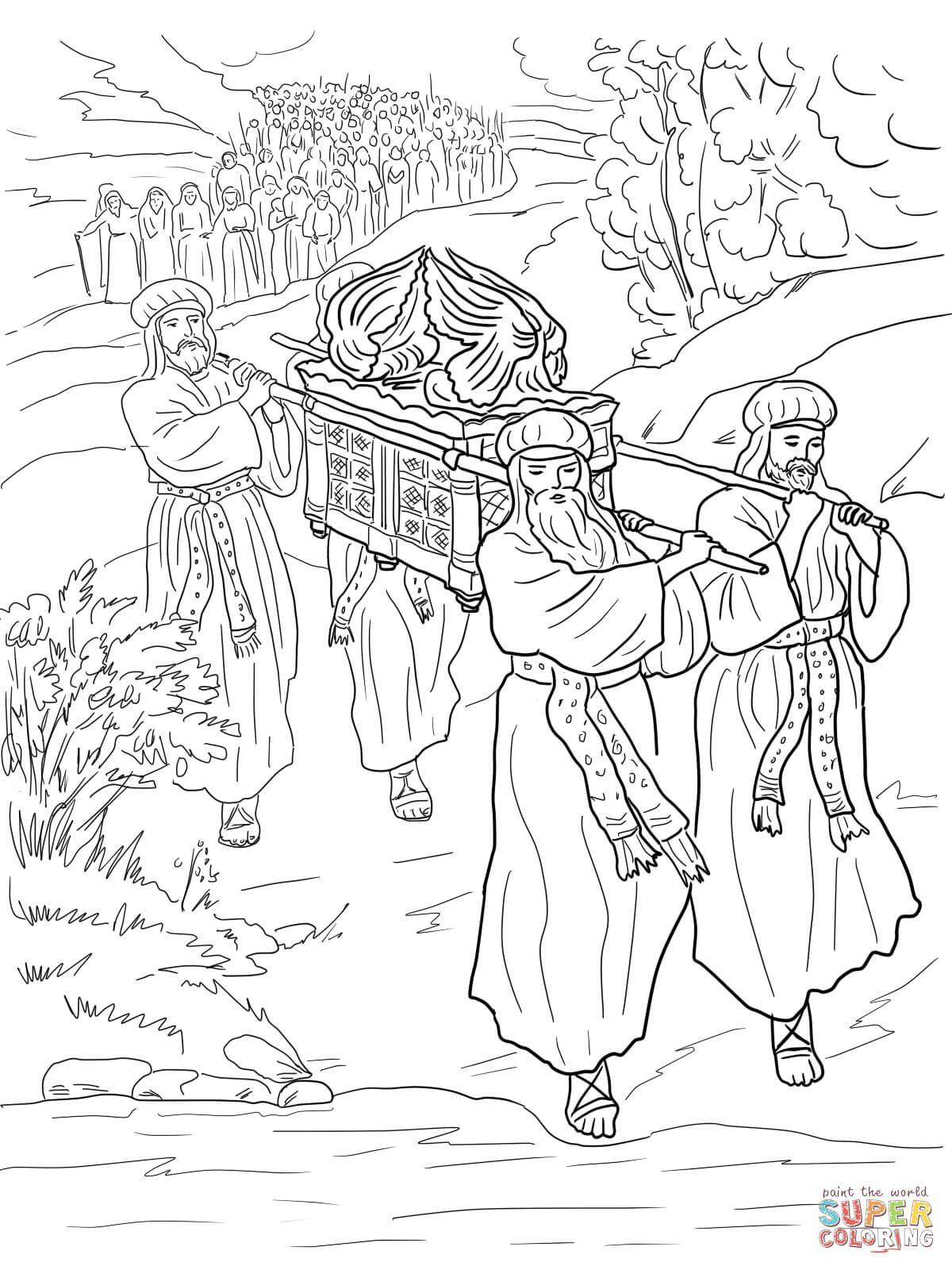 crossing jordan river  coloring page  sundayschoolist