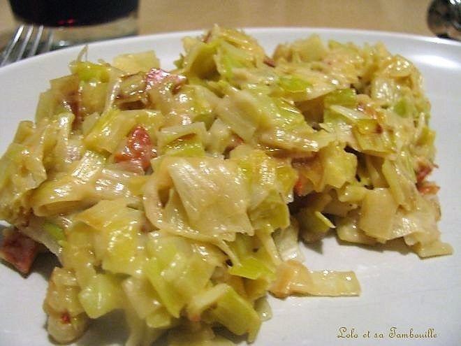 Fondue de poireaux au chorizo & parmesan Lolo et sa Tambouille