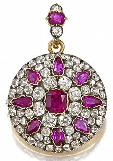 Antique ruby and diamond brooch pendant