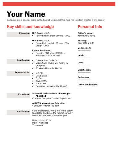 Image Result For Biodata Format  S    Sample Resume
