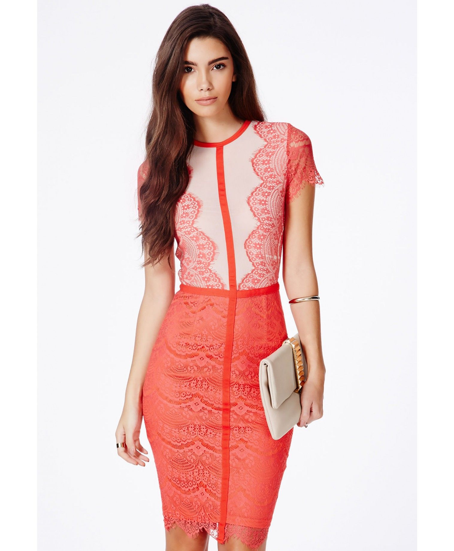 30194c905070 Satsuko Lace Panel Midi Dress | Missguided This is so pretty..... workwear  acceptable?