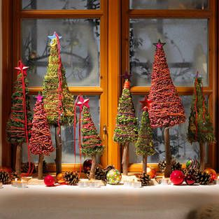 weihnachtsdeko f r die fensterbank kleiner winterwald basteln pinterest xmas diy. Black Bedroom Furniture Sets. Home Design Ideas
