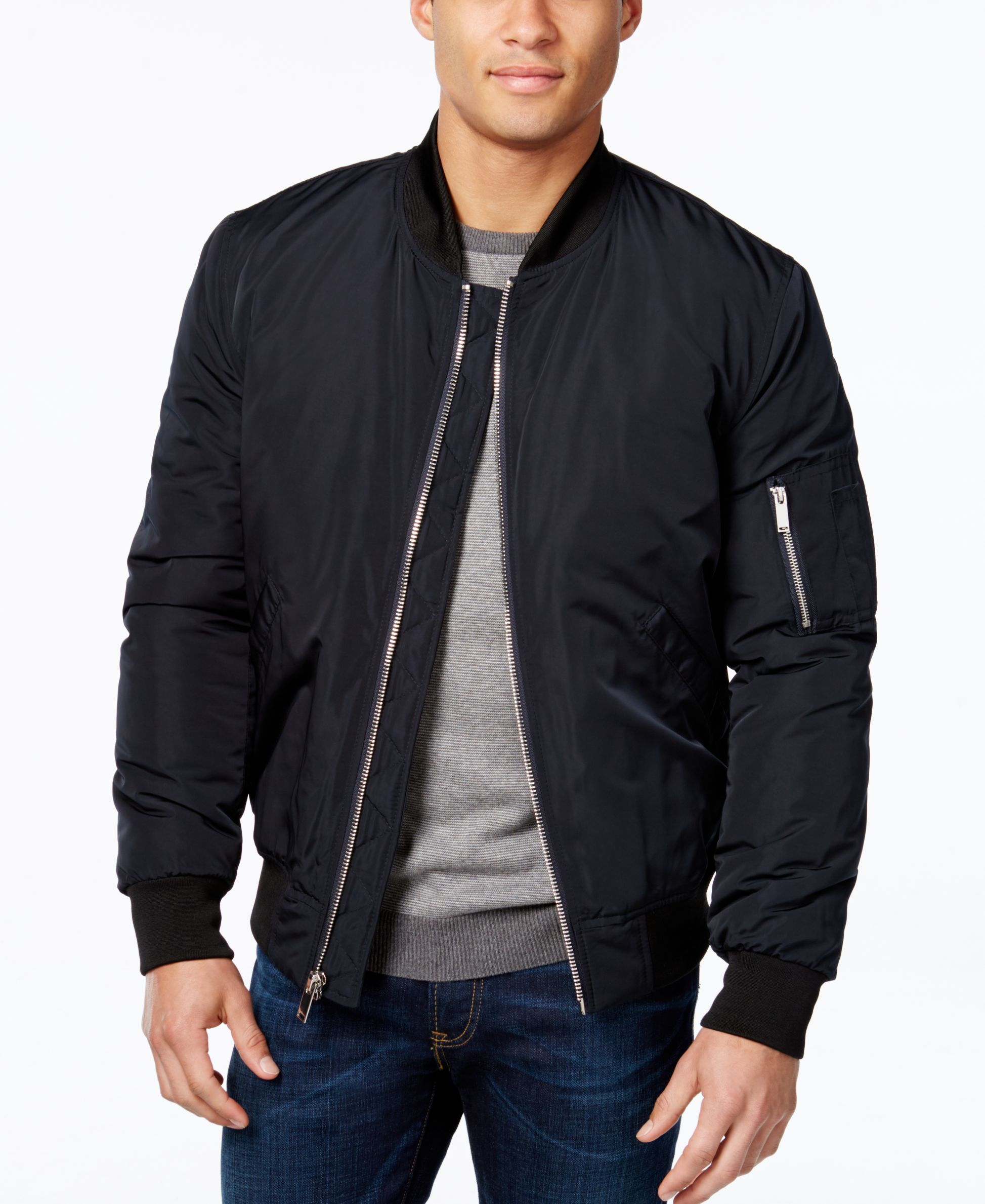 The lightweight feel of this Vince Camuto bomber jacket is ...