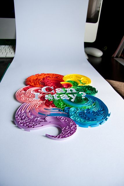"""Quilled """"Can I Stay?"""" by all things paper, via Flickr BEAUTIFUL!!"""