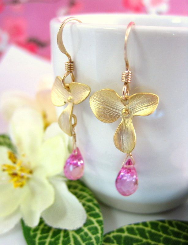Pink quartz gold flower dangle earrings pink cherry by KBlossoms, $38.00