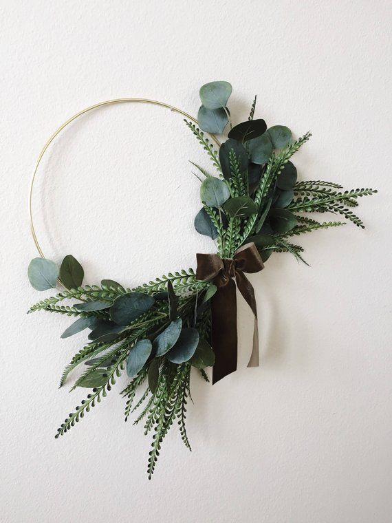 Photo of Modern Wreath Eucalyptus Wreath Minimalist Wreath Hoop   Etsy