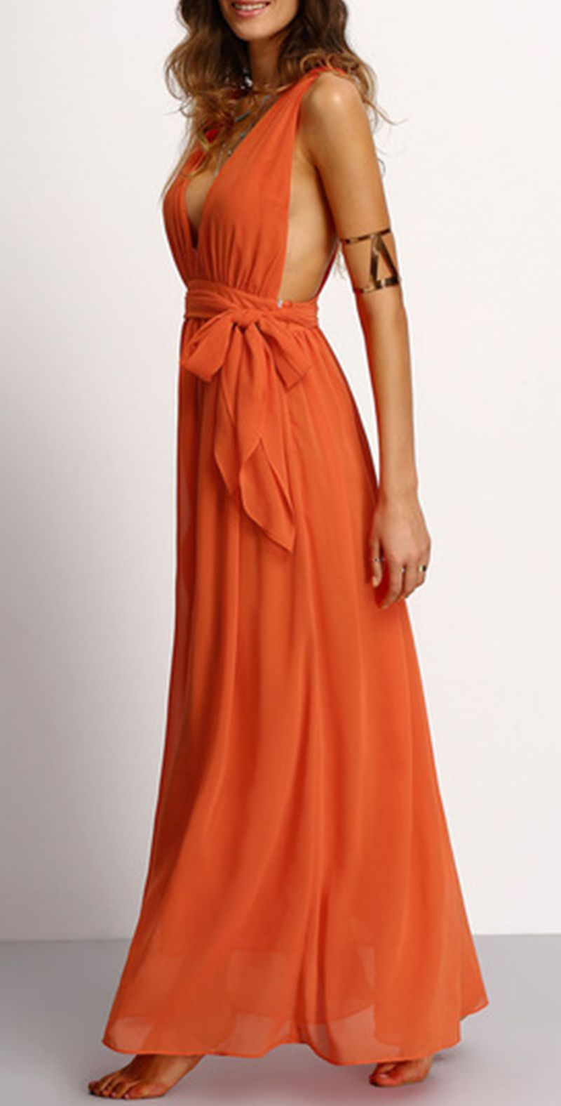 Sexy loose maxi dress with deep v neck halter back and selftie