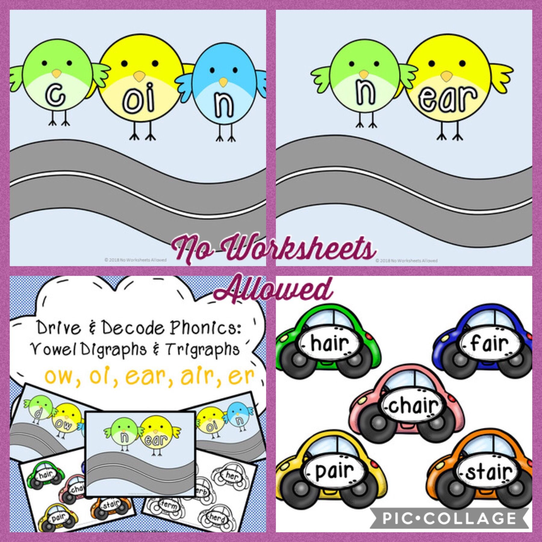 Phonics Vowel Digraphs And Trigraphs Activity Ow Oi Ear