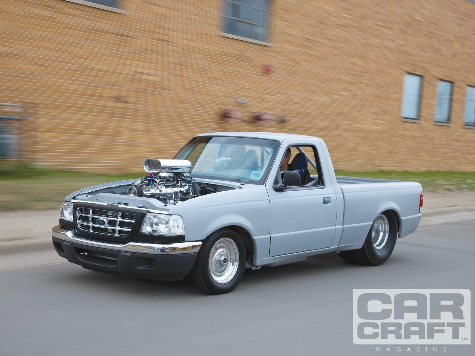 Tim sockness 1998 ford ranger with a supercharged 351w punched to 383 ci c4 auto