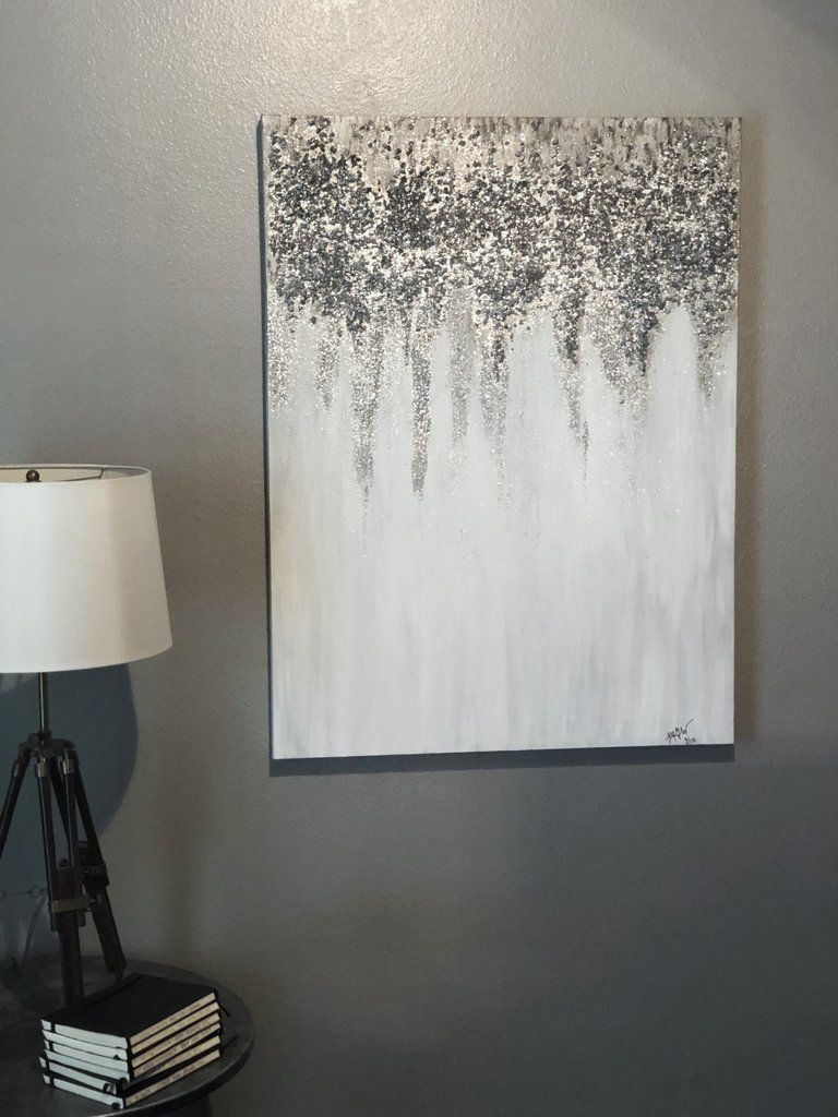 Original Silver Pewter White Textured Bling Painting This Statement Piece Catches The Light When You Walk Past Home Wall Art White Wall Art Diy Canvas Art