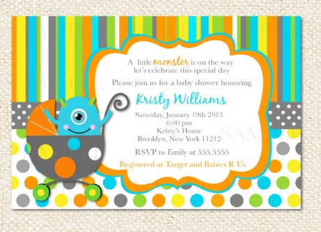 High Quality Little Monster Baby Shower Invitations