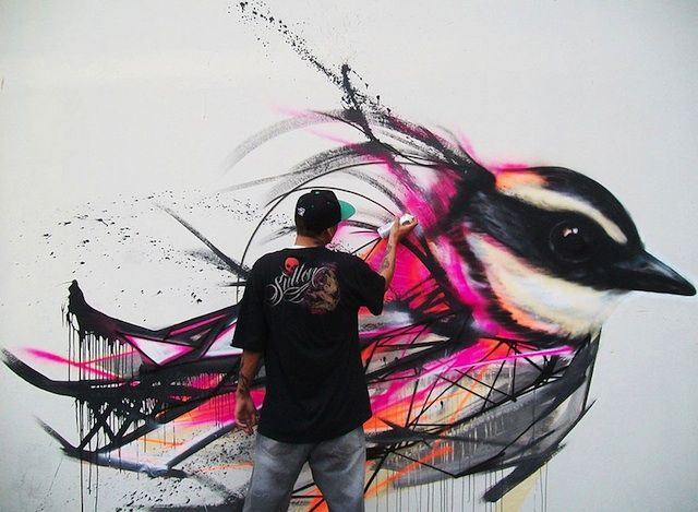Brazilian street artist Luis Seven Martins successfully blends roughness and elegance in his Graffiti Birds urban paintings on the walls of Sao Paulo, Brazil. Description from indulgy.com. I searched for this on bing.com/images
