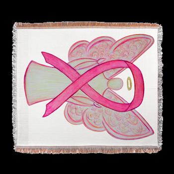 Pink Awareness Ribbon Angel Woven Blanket